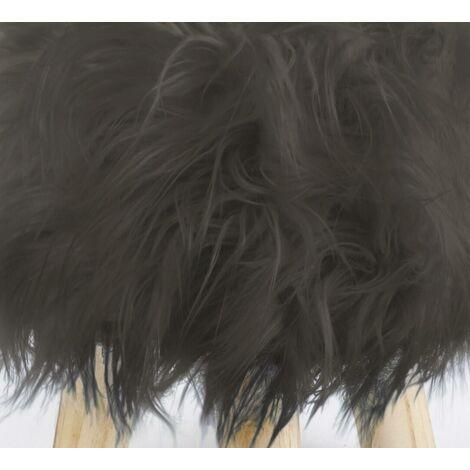 Footstool Pouffe Mongolian Faux Fur Wooden Leg Scandi Foot Stool Chair Charcoal