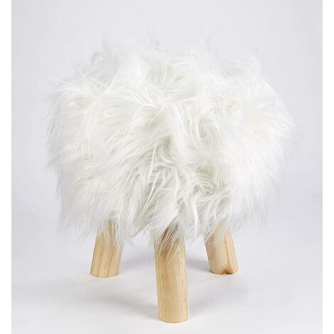Footstool Pouffe Mongolian Faux Fur Wooden Leg Scandi Foot Stool Chair Cream