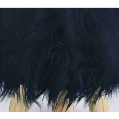 Footstool Pouffe Mongolian Faux Fur Wooden Leg Scandi Foot Stool Chair Navy Blue