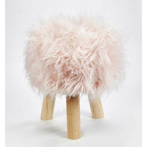 "main image of ""Footstool Pouffe Mongolian Faux Fur Wooden Leg Scandi Foot Stool Chair Pink"""