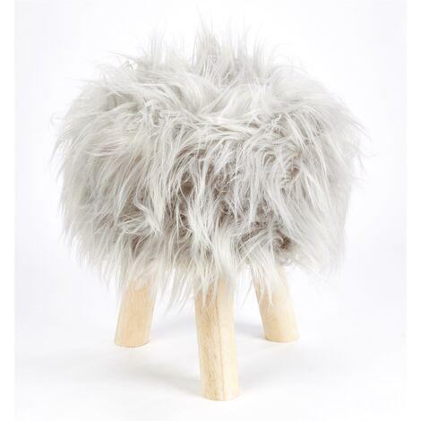 "main image of ""Footstool Pouffe Mongolian Faux Fur Wooden Leg Scandi Foot Stool Chair Silver"""