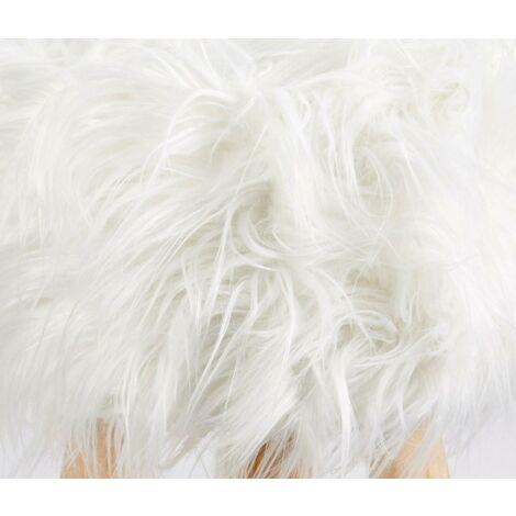 Footstool Pouffe Mongolian Faux Fur Wooden Leg Scandi Foot Stool Chair White