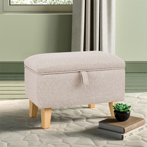 Footstool Storage Box Ottoman Footstool Foot Rest Stool Seat Beige
