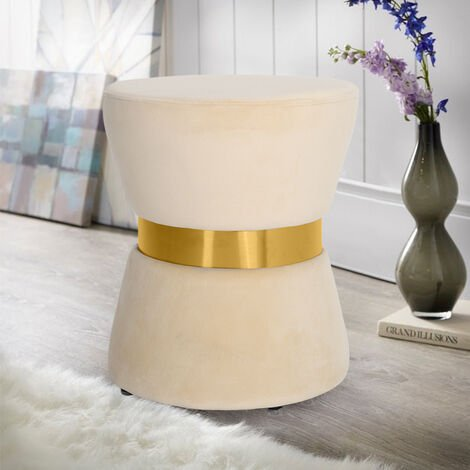 Footstool Velvet Round Dressing Table Stool Pouf Couch Stool Metal Frame Beige