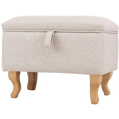 Footstools Ottoman Storage Box Unit Chair Linen Fabric Foot Stool Beige Footrest Padded Seat