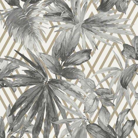 Forage Geometric Wallpaper Grandeco Gold Grey White Leaf Floral Jungle