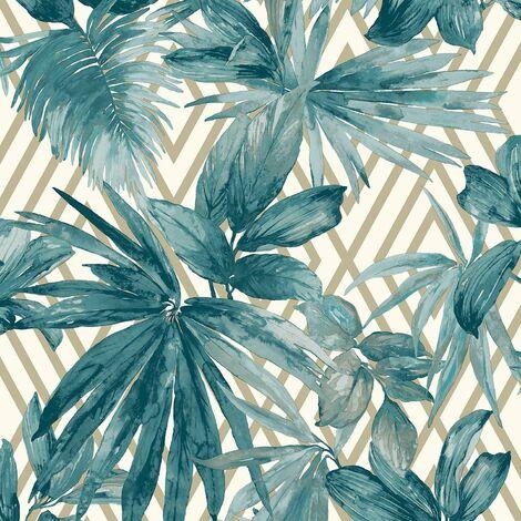 Forage Geometric Wallpaper Grandeco Gold Teal White Leaf Floral Jungle