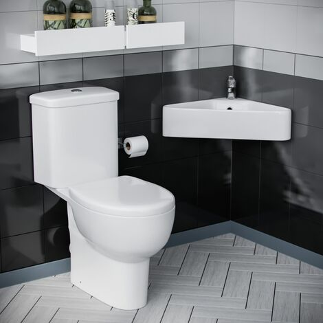 Forel Bathroom Close Coupled WC Toilet Wall Hung Cloakroom Basin Sink Suite