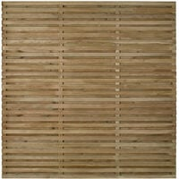 "Forest 5'11"" x 5'11"" Pressure Treated Contemporary Double Slatted Fence Panel (1.8m x 1.8m)"