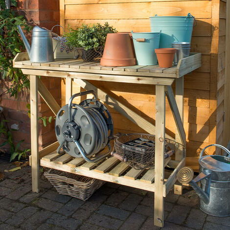 Forest Wooden Garden Potting Bench/Table 3'6 x 2' (1.08x0.52m)