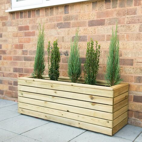 """main image of """"Forest Linear Long Wooden Garden Planter 4'x1' (1.2x0.4m)"""""""