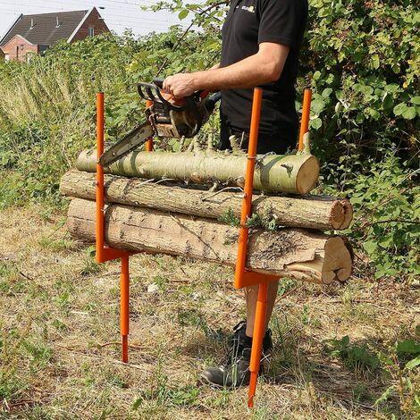 Forest Master Bulk log stand spike wood log saw horse multi wood holder chainsaw cutting BLSS