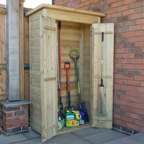 """main image of """"Forest Shiplap Tall Pent Wooden Garden Storage Tool Store - Outdoor Patio Storage"""""""