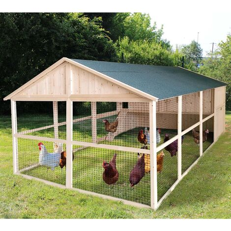 Forest Style-Poulailler XL avec volière CHARLIE – 10 poules - 8,5m²