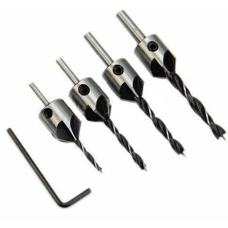 4Pc bois chanfrein Kit HSS Fraiseuse Bois Jeu de forets en acier 5 Flûte 3mm-6mm