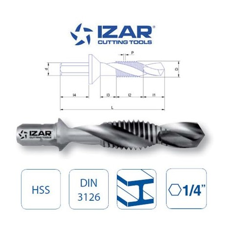 foret taraudeur HSS queue hexagonale 6 pans Izar M3 à M10