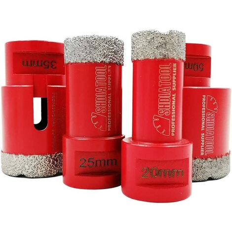 Forets Diamant 4pcs/Set 20/25/35/50mm Brasé Sous Vide Trépans avec Filetage M14 pour Perçage à sec en Porcelaine Carrelage Granit Marbre