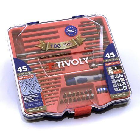 Forets Embouts TIVOLY Mallette 45 pièces multi matériaux Gamme TECHNIC