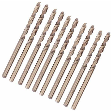 Forets hélicoïdaux, 10 pièces de foret au cobalt M35 HSS-CO 1mm-5mm, utilisé pour percer l'acier inoxydable, la fonte, la tôle, la plaque d'acier, la cornière (1mm)