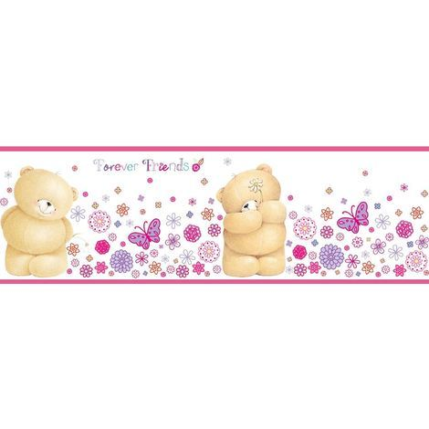 Forever Friends Wallpaper Border Fun4walls Self Adhesive 5m Flower Teddy Pink