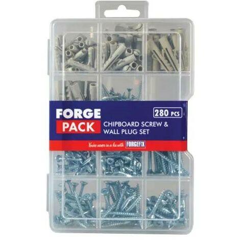 Forgefix 280 Piece Screw and Wall Rawl Plug Assorted Set in Organiser FPSPSET