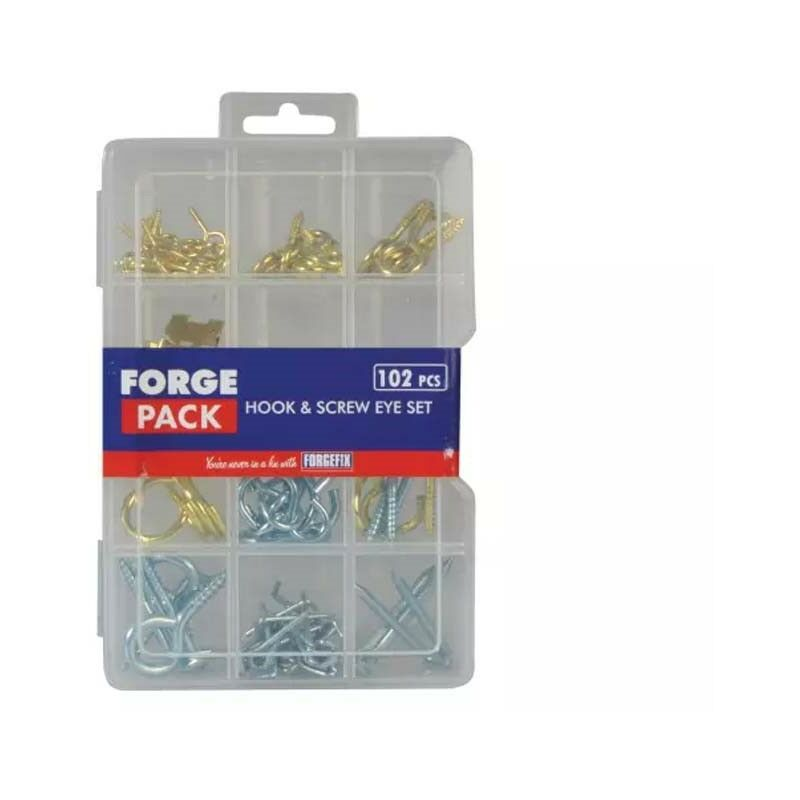 Image of 102 Piece Hook Screw Picture Hanging Assorted Set in Organiser FPHESET - Forgefix