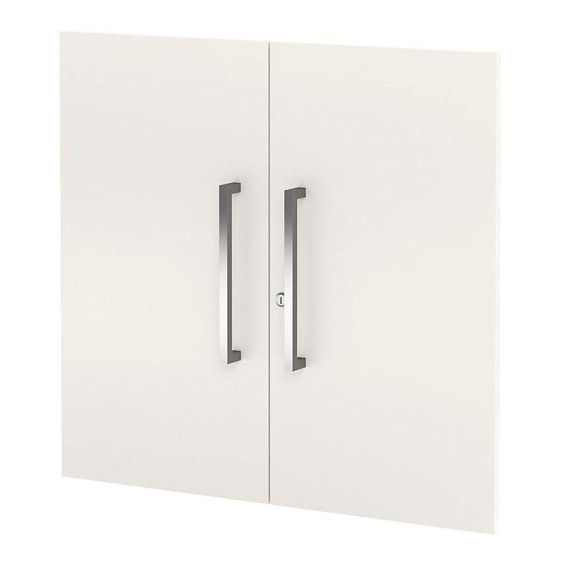 Form 4 Porte d'armoire, basse - 2 hauteurs de classeurs, verrouillable, poignées inox - blanc - Coloris: Blanc