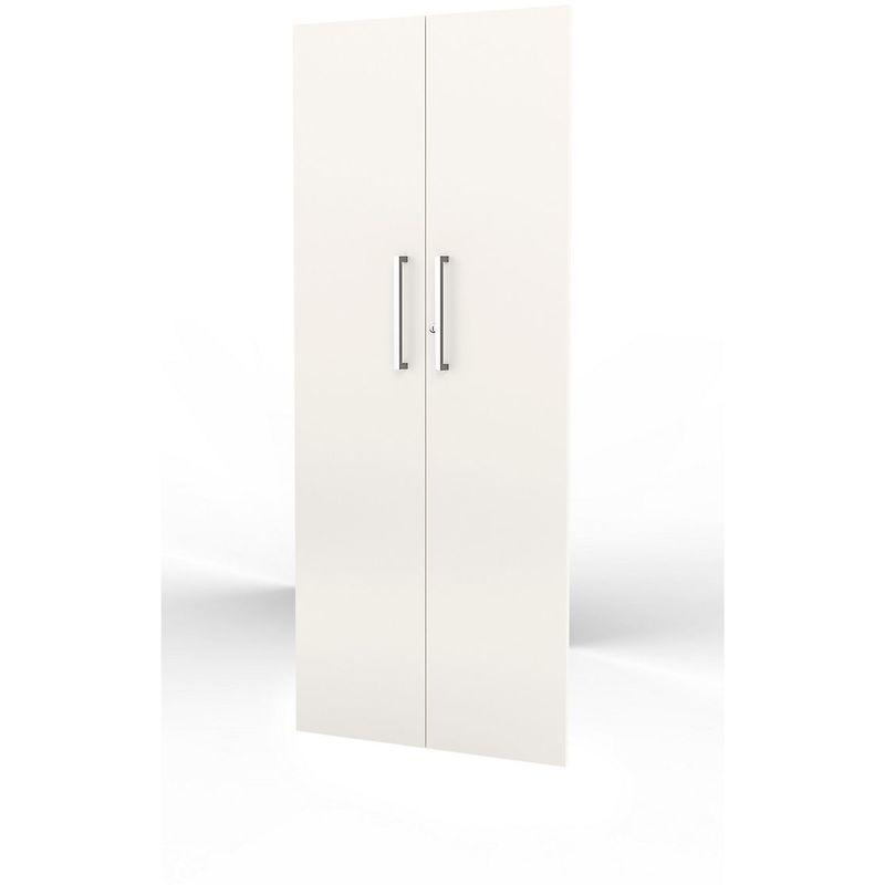 Form 4 Porte d'armoire, haute - 5 hauteurs de classeur, verrouillable, poignées inox - blanc - Coloris: Blanc