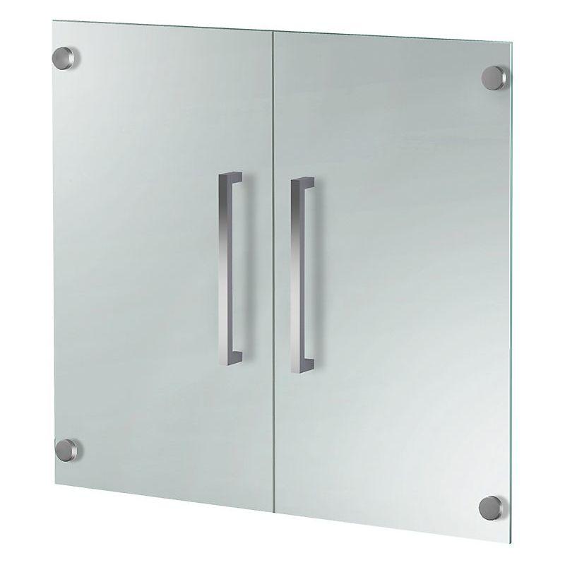 Kerkmann - Form 4 Porte d'armoire, verre - 2 hauteurs de classeurs, verrouillable, poignées inox - verre