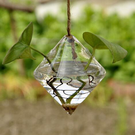 Forma planta hidroponica de escritorio florero de cristal claro de diamante titular terrario de la planta para el jardin Balcon escritorio de oficina