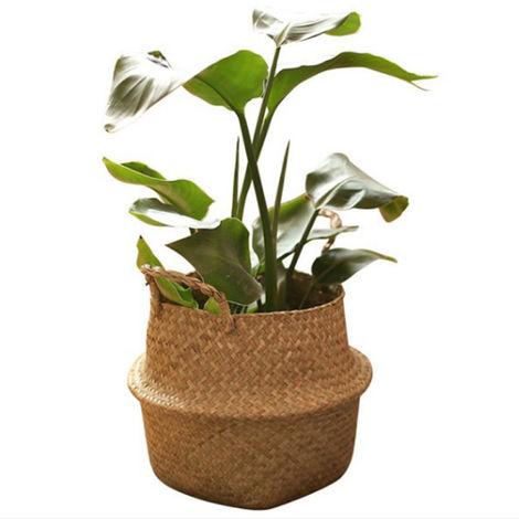 Forma tejida Planter Ronda de picnic de contenedores de almacenamiento cesta del jardin Florero Macetas para la decoracion casera, 45cm