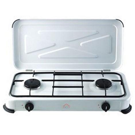 Fornello a Gas 2 Fuochi Accensione Manuale Cucina da Campeggio Fiamma Regolabile