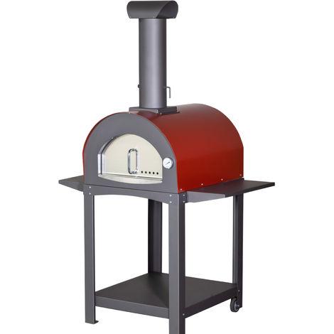 """main image of """"Forno a legna professionale in acciaio Inox 120x70x182 Rosso"""""""