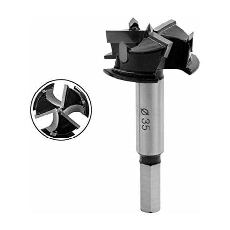 Forstner Mèche 35 mm ,Mèche à trou de Charnière, Forstner Foret Carbure pour Le Travail du Bois,Meubles, trou de Charnière de Porte.(KKQ-35N)