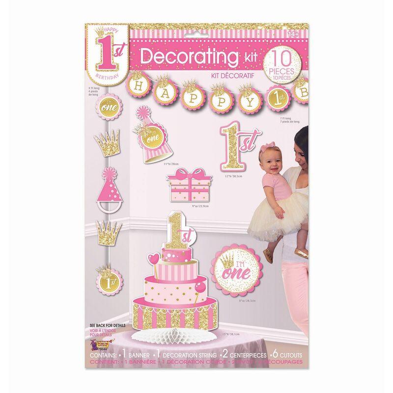 Image of Forum Novelties 1st Birthday Decor Kit (Pack of 10) (One Size) (Pink/Gold)