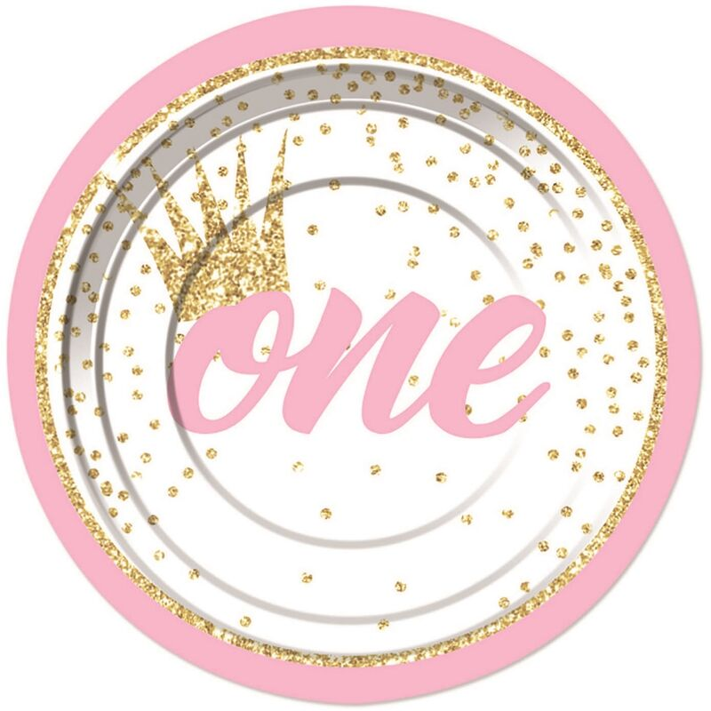Image of 1st Birthday Plate (Pack of 8) (One Size) (Pink/White) - Forum Novelties