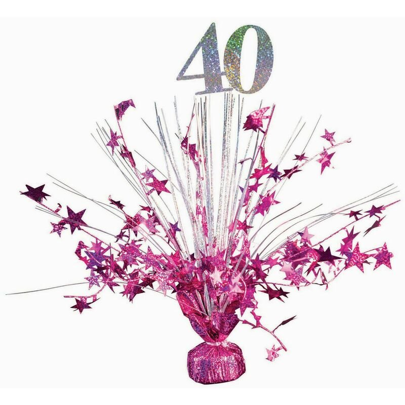 Image of 40 Holographic Balloon Weight (One Size) (Hot Pink/Silver) - Forum Novelties