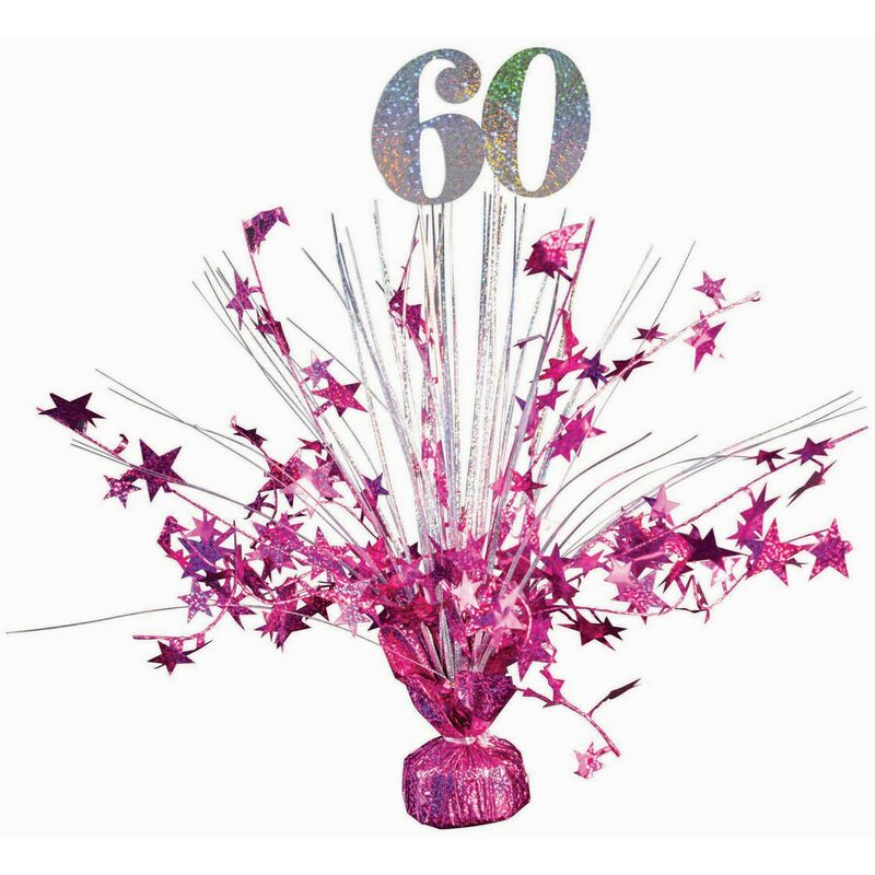 Image of 60 Holographic Balloon Weight (One Size) (Hot Pink/Silver) - Forum Novelties