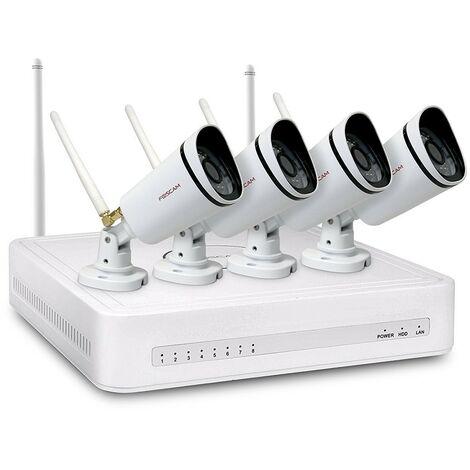 Foscam - FN3104W-B4-1T - Kit vidéosurveillance 4 caméras Wifi 720p avec enregistreur NVR - Blanc