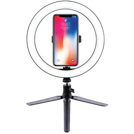 Fotografia LED Luz selfie 260 mm regulable camara lampara Telefono con la Tabla tripodes, Pequeno soporte de relleno + 260mm + luz bandeja integrada para telefono movil