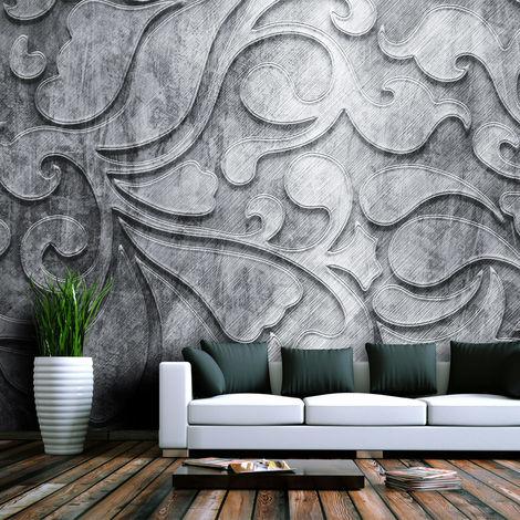 Fotomural - Fondo de plata con motivos florales