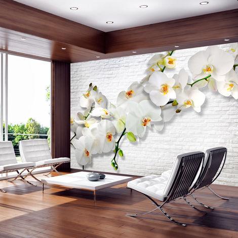 Fotomural - Orquídeas en la pared