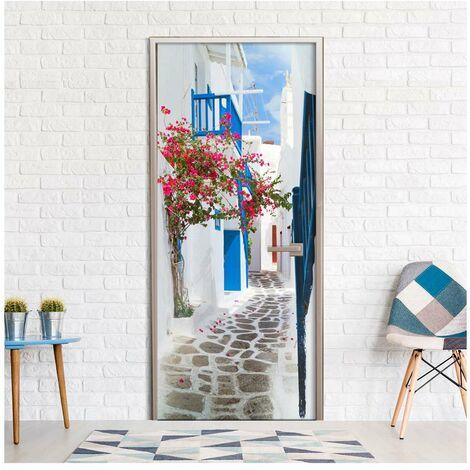 Fotomural para puerta - Walk through Santorini