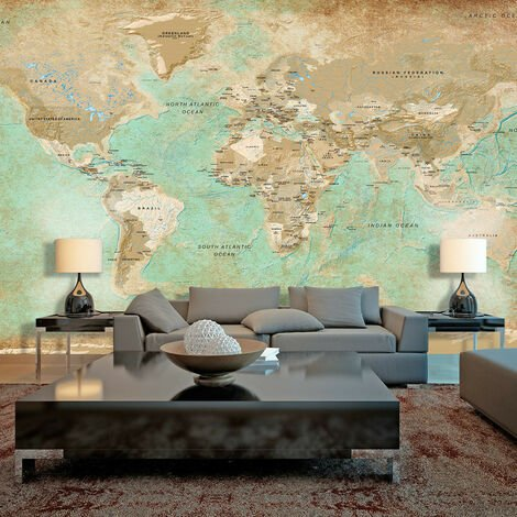 Fotomural XXL - Turquoise World Map II -