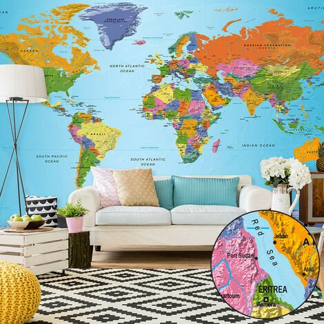 Fotomural XXL - World Map: Colourful Geography II -