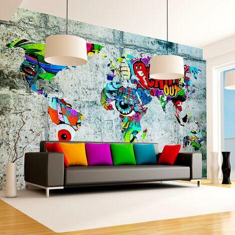 Carta Da Parati Murales.Carta Da Parati Fotomurale Map Graffiti 100x70cm Erroi
