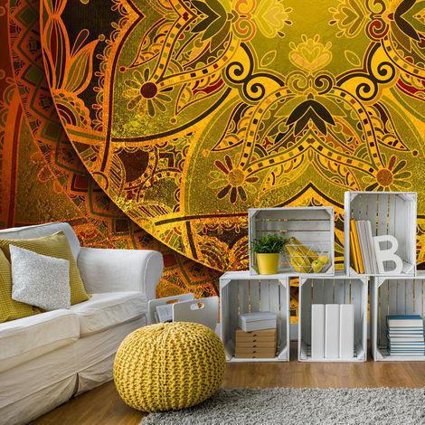 Fototapete Tapete Poster 060192FW Golden Mandala in Rot Imitation Struktur und