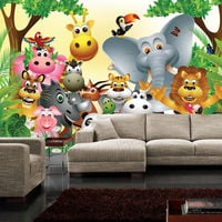 Fototapete Vlies PREMIUM PLUS - Wandfototapete Bild Vliestapete JUNGLE ANIMALS PARTY Kinderzimmer Kinder Dschungel Zoo Tiere Giraffe L?we Affe - no. 0013