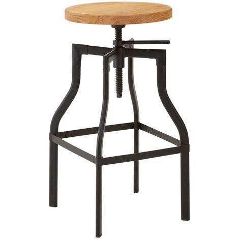 Foundry bar stool, ash seat / metal base, height adjustable