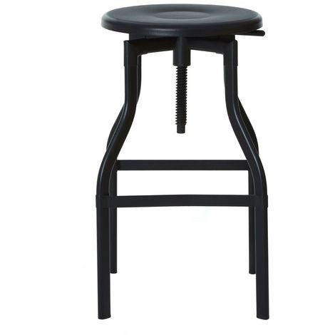 Foundry bar stool, black metal, powder coated metal